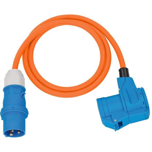 Brennenstuhl Camping-Adapterleitung mit CEE-Stecker und Winkelkupplung 230V/16A, 1,5m Kabel in orange - 1132920525