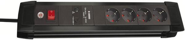 Brennenstuhl Steckdosenleiste Premium-Line 30.000A Überspannungsschutz, 4-fach schwarz