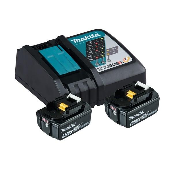 Makita Power Source Kit Li 18,0V 5Ah inkl. Schnellladegerät & 2 Akkus im Karton - 197570-9