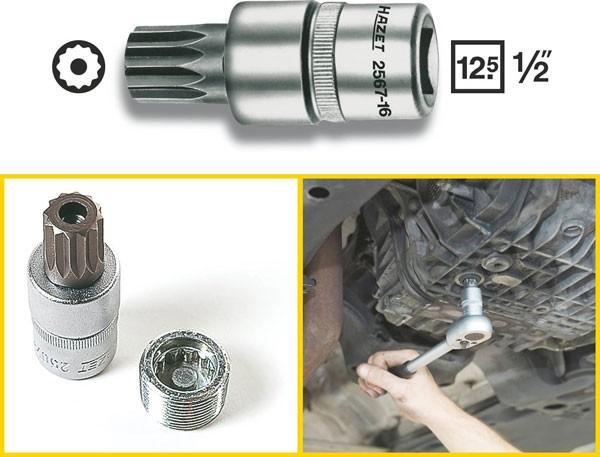 Hazet Öldienst-Schraubendreher-Steckschlüssel-Einsatz - Vierkant hohl 12,5 mm (1/2 Zoll) - Innen Vielzahn Profil XZN mit Zapfen - Schlüsselweite: M16 - Gesamtlänge: 60 mm - 2567-16