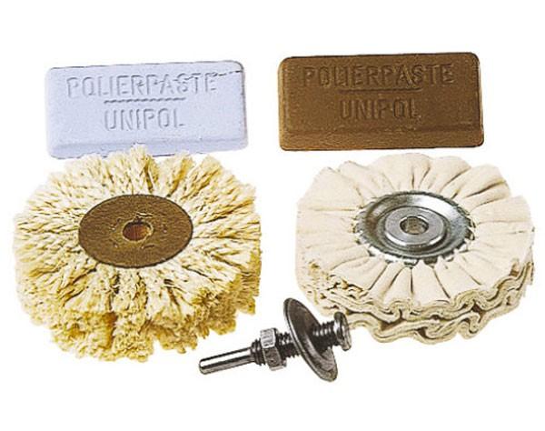 Wolfcraft 1 juego profesional de pulir, con disco pulidor, cepillo de cuerda sisal, pastas de pulir y vástago - 2179000
