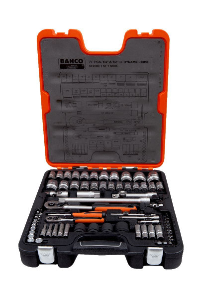 "Bahco ASSORTIMENT DE DOUILLES 1/4+1/2"", 77 PCS - S800"""