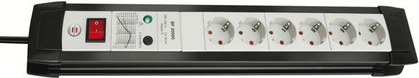 Brennenstuhl Steckdosenleiste Premium-Line, Überspannungsschutz 30 KA, 6-fach schwarz/lichtgrau