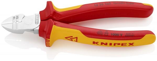 Knipex Tronchese laterale con spelacavi cromata VDE 160 mm - 14 26 160 SB