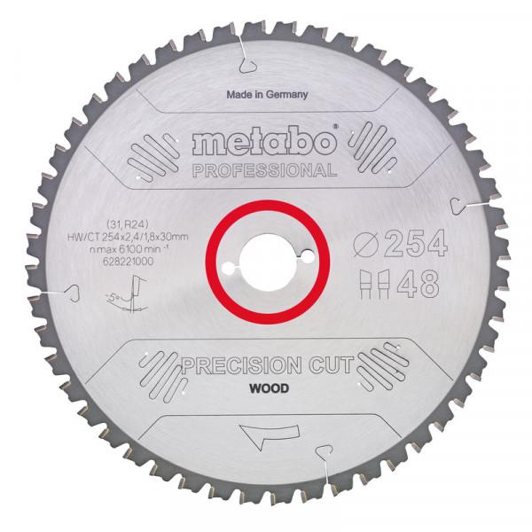 Metabo Hoja de sierra circular HW/CT 315 x 30 x 2,8/1,8, nº de dientes 48, diente intercambiable, ángulo de desprendimiento de virutas 15° (628056000)