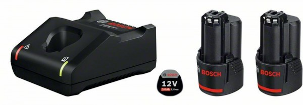 Bosch Professional Akku Starter-Set: 2 x GBA 12 Volt, 3.0 Ah und GAL 12V-40 - 1600A019RD