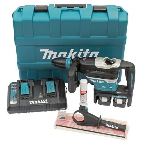 Makita Martello rotativo per SDS-MAX, 2x18V, 6Ah, 2 x batterie + caricabatteria DC18RD - DHR400PG2U