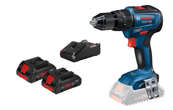 Bosch Professional Perceuse-visseuse sans fil GSB 18V-55, 2 batteries ProCORE18V, chargeur rapide GAL 18V-40 - 06019H5304