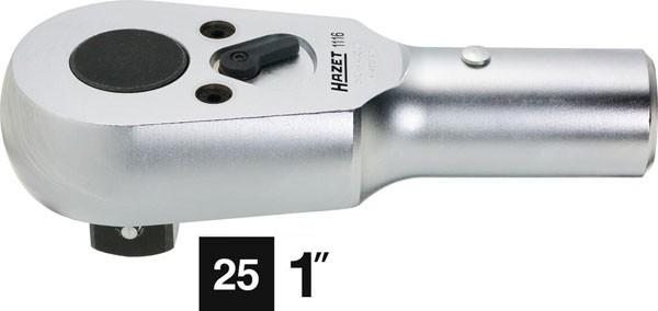 Hazet Umschalt-Knarrenkopf - Vierkant massiv 25 mm (1 Zoll) - Gesamtlänge: 195 mm - 1116