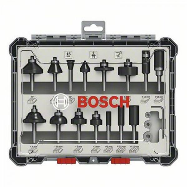 Bosch Kit de 15 fraises mixtes à queue de 6mm - 2607017471