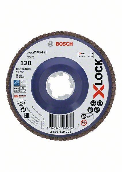 Bosch Dischi lamellari X-LOCK, versione dritta, piastra in plastica Ø115 mm, G 120, X571, Best for Metal, 1 pz. - 2608619208