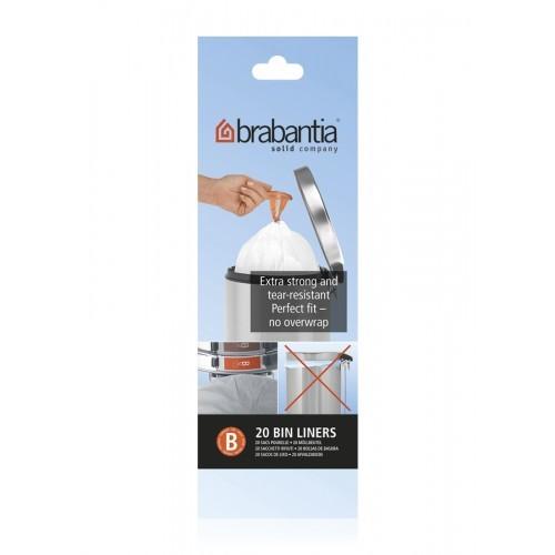 Brabantia Sac Poubelle 5 Litres - White - 1 rouleau de 20 sacs
