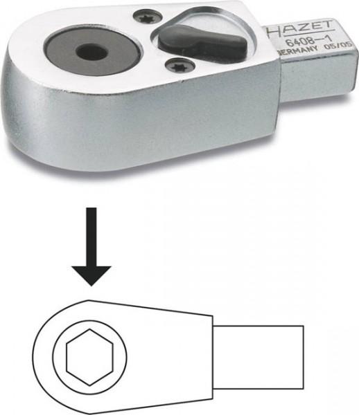 Hazet Bit-Einsteck-Umschaltknarre - Einsteck-Vierkant 9 x 12 mm - Sechskant hohl 6,3 (1/4 Zoll), Innen-Sechskant Profil - Gesamtlänge: 46.5 mm - 6408