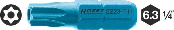 Hazet Bit - Sechskant massiv 6,3 (1/4 Zoll) - Tamper Resistant TORX Profil - Schlüsselweite: T 10 H - Gesamtlänge: 25 mm - 2223-T10H