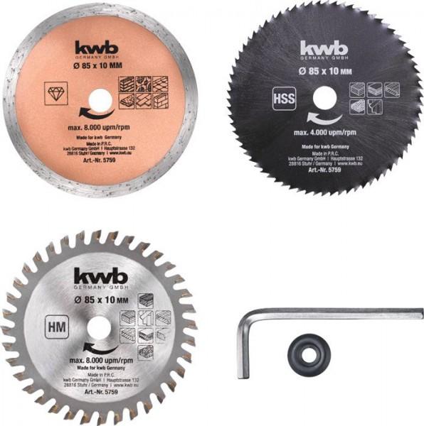 KWB Set mini-cirkelzaagbladen, 3-delig - 575905