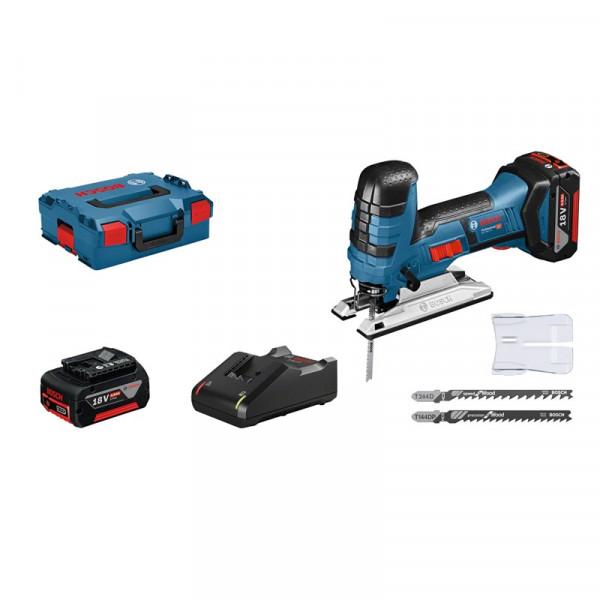 Bosch Professional Akku-Stichsäge GST 18 V-LI S, mit 2 x 4.0 Ah Li-Ion Akku, L-BOXX - 06015A5107
