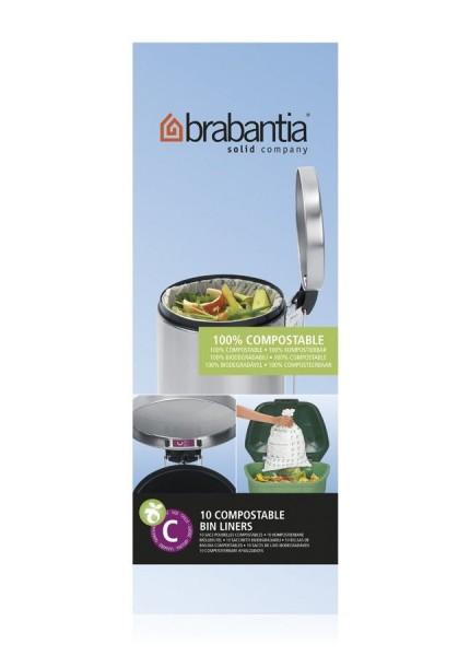 Brabantia Müllbeutel 10-12 L, 100% kompostierbar 10 Stück pro Rolle