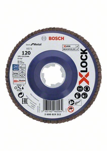 Bosch Dischi lamellari X-LOCK, versione dritta, piastra in plastica Ø125 mm, G 120, X571, Best for Metal, 1 pz. - 2608619212
