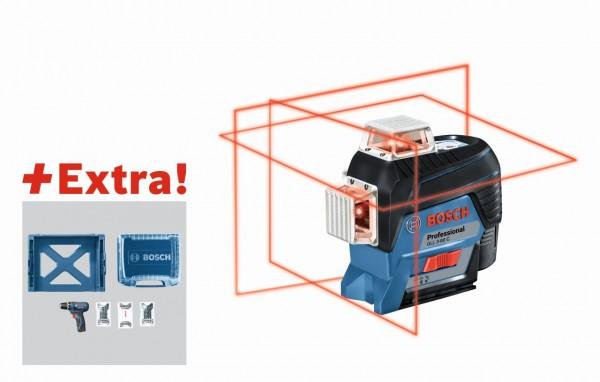 Bosch Lijnlaser GLL 3-80 C in L-BOXX + accuschroevendraaier GSR 12V-15 + 39-delige accessoireset in i-BOXX + i-Rack - 06159940L4