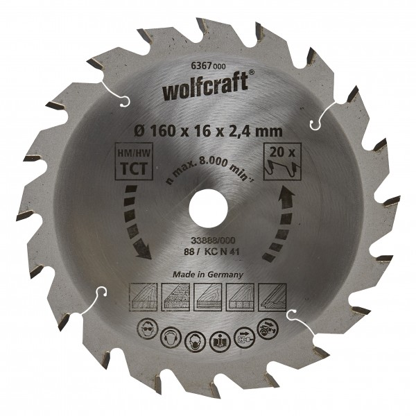 Wolfcraft Lame de scie circulaire CT, 160x16x2.4 mm, 20 dents