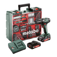 Metabo Perceuse à percussion sans fil SB 18 Set, 18V 2x2Ah Li-Ion, Chargeur SC 30, Coffret, Atelier mobile - 602245880