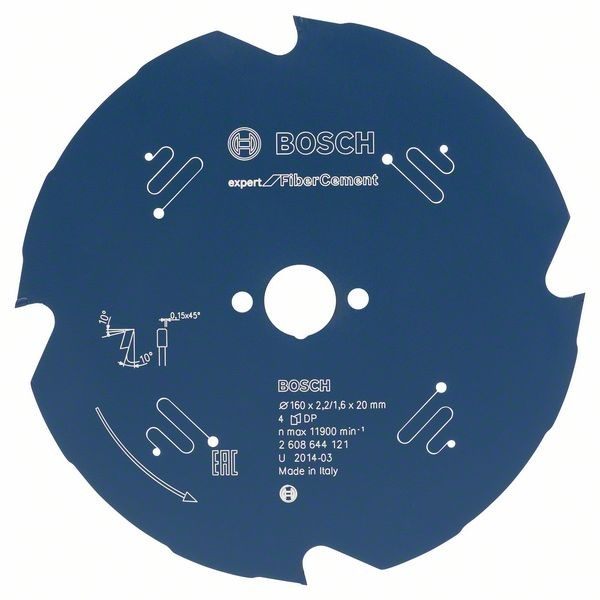 Bosch Cirkelzaagblad Expert for Fiber Cement 160 x 20 x 2,2 mm, 4