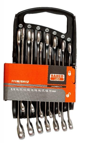 Bahco Jeu de clés mixtes plates 12 pcs en support plastique, 8-19mm - 111m/sh12