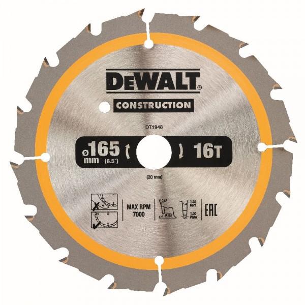 DeWALT Lama per sega circolare a batteria, 165/20 mm, 16 denti - DT1948-QZ