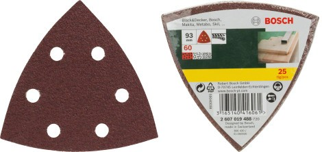 Bosch Set de 25 feuilles abrasives pour ponceuse Delta, grain 60