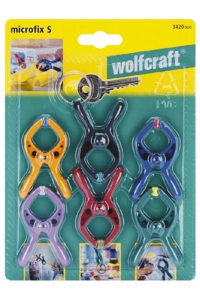 """Wolfcraft Micro-pinces à ressort miniatures + 1 anneau porte-clés """"microfix S"""""""