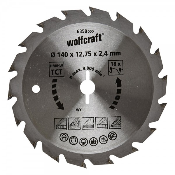 Wolfcraft Lame de scie circulaire CT, 140x12.75x2.4 mm, 18 dents