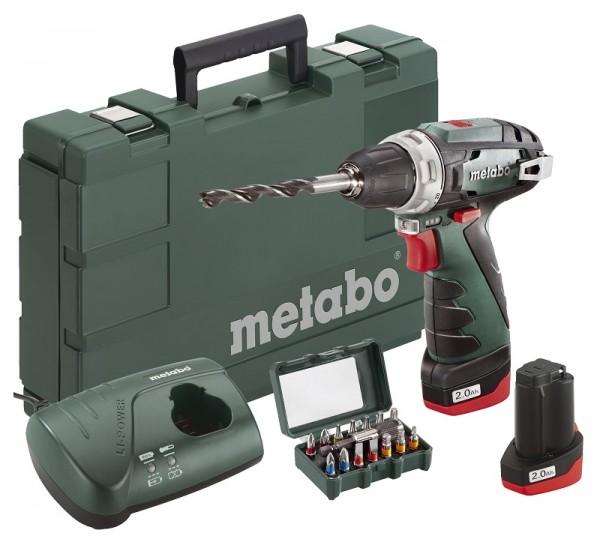 Metabo 10,8V, Trapano-avvitatore a batteria PowerMaxx BS Basic Set + Custodia con inserti SP (15 pezzi) - 600080920