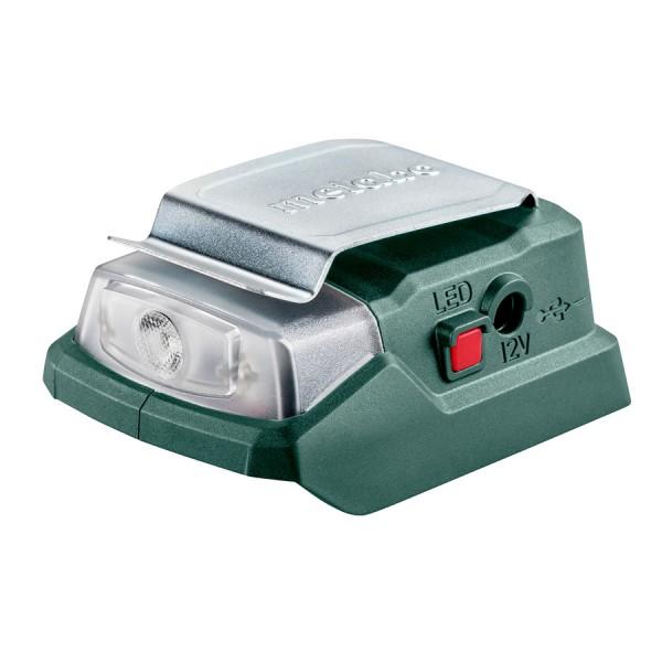 Metabo Akku-Power-Adapter PowerMaxx PA 12 LED-USB, 12 V Anschluss + 5 V USB + LED-Licht, Karton - 600298000