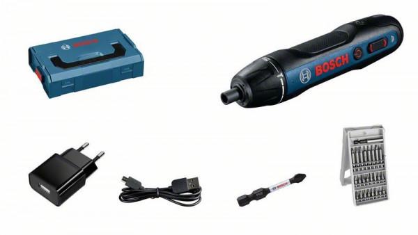 Bosch Professional Akku-Schrauber Bosch GO, Bit-Set 25-tlg., Schrauberbit PH2, Ladegerät, L-BOXX - 06019H2101