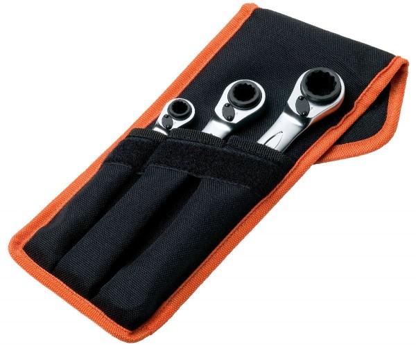 Bahco Jeu de clés polygonales quadruples à cliquet, 3 pcs, étui de ceinture - s4rm/3t