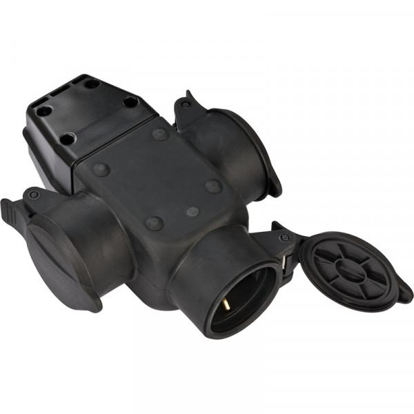 Brennenstuhl Schutzkontakt-Gummikupplung 3-fach für den Gebrauch im Innen, Vorrichtung zum Aufhängen - 1082120