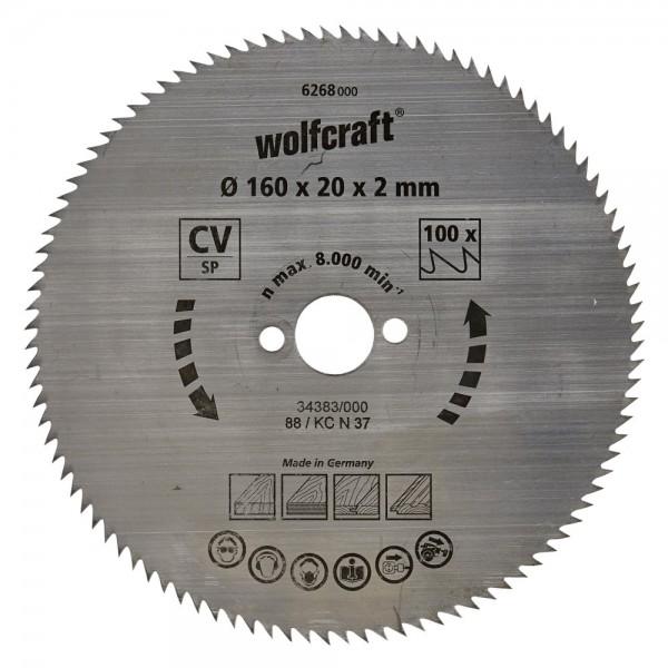 Wolfcraft Lame de scie circulaire CV, 160x20x2mm, 110 dents