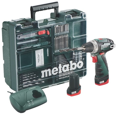 Metabo PowerMaxx BS Basic Mobile Werkstatt Akku-Bohrschrauber 2 Li-Power Akkupacks (10,8 V/2,0Ah)
