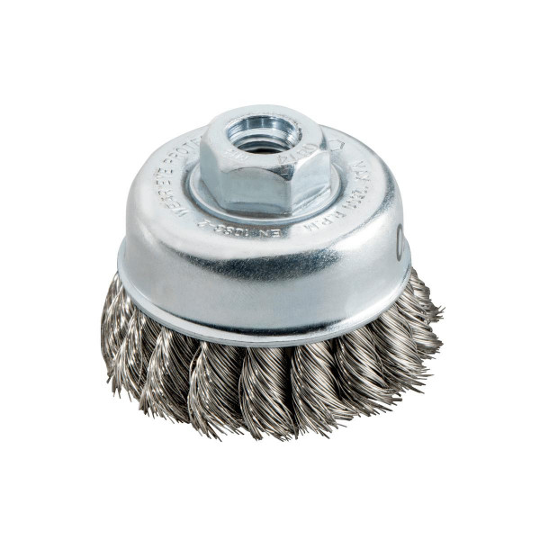 Metabo Cepillo hueco 65x0,35 mm/ M 14, alambre de acero Inox, trenzado, inoxidable, grosor del alambre 0,35 mm - 623801000