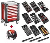 Facom Werkstattwagen (JET.8M3) gefüllt mit 9 Modulen, rot - SPOTLIGHTJET8M
