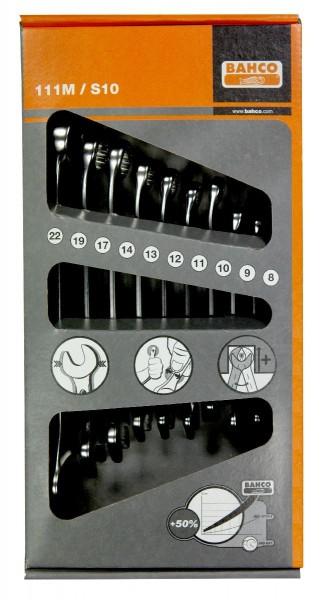 Bahco Jeu de clés mixtes plates 10 pcs en carton, 8-22mm - 111m/s10