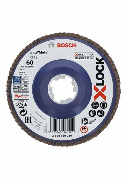 Bosch Dischi lamellari X-LOCK, versione dritta, piastra in plastica Ø125 mm, G 60, X571, Best for Metal, 1 pz. - 2608619210