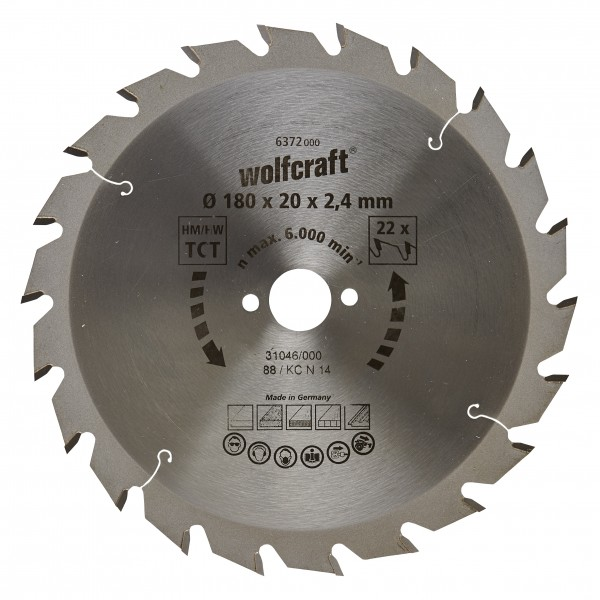 Wolfcraft Lame de scie circulaire CT, 180x20x2.4 mm, 22 dents