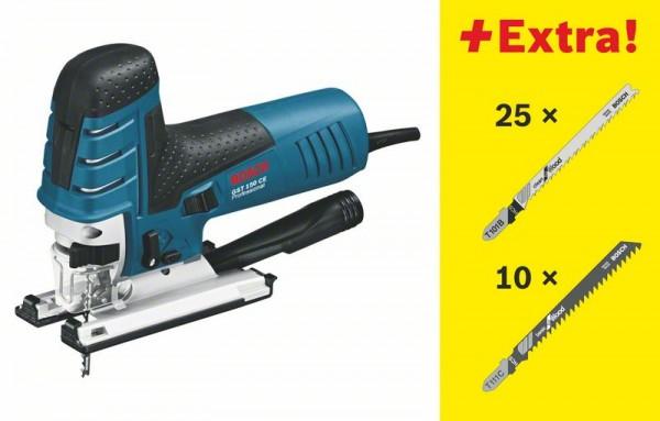 Bosch Seghetto alternativo GST 150 CE Professional, con 35 lame di seghe, L-BOXX - 0601512008