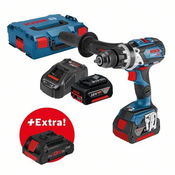 Bosch Trapano-avvitatore con percussione a batteria GSB 18V-85 C + 2 batterie da 5,0 Ah + batteria ProCORE18V 4.0Ah in valigetta L-BOXX - 0615990K7R