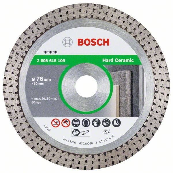 Bosch Diamanttrennscheibe Best for Hard Ceramic, 76 x 10 x 1,9 x 10 mm - 2608615109