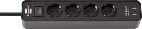 Brennenstuhl Ecolor Steckdosenleiste 4-fach mit USB-Ladefunktion (Steckerleiste mit 2 USB Ladebuchsen, Schalter und 1,5m Kabel) schwarz - 1153240006