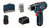 Bosch Professional Accuschroefboormachine GSR 12V-15, 2x accu 2Ah, oplader - 060186810H