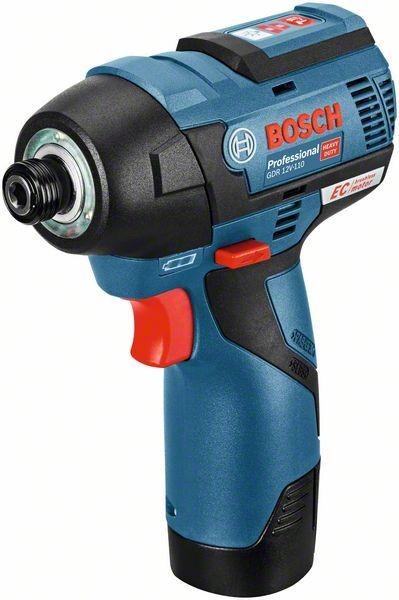 Bosch Professional Akku-Drehschlagschrauber GDR 12V-110, mit 2 x 3,0 Ah Li-Ion Akku, L-BOXX - 06019E0005