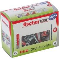 Fischer Cheville bi-matière DUOPOWER 6 x 30 S avec vis, boîte à fenêtre - 535459